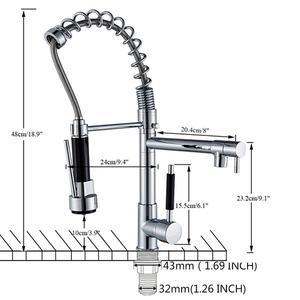 Image 5 - Uythner Chrome laiton bassin cuisine robinet navire évier mélangeur robinet ressort double pivotant becs évier mélangeur salle de bain robinets chaud froid