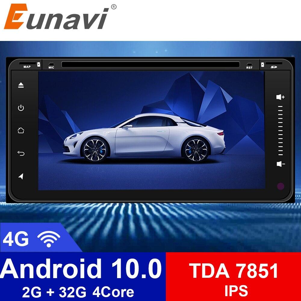 Eunavi 2 Din Android 10.0 Car DVD Player GPS Navigation For Toyota Hilux Vios Old Camry Rav4 Prado 2003-2008 2din radio wifi bt