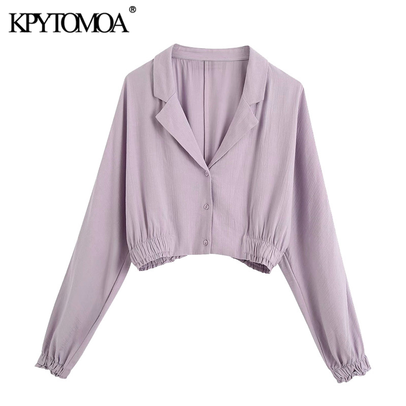 KPYTOMOA Women 2020 Fashion Button-up Cropped Blouses Vintage V Neck Long Sleeve Female Shirts Blusas Chic Tops