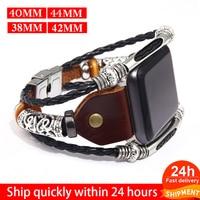 Braun Leder Band Schleife Strap Für Apple Uhr 6 SE 5 4 3 2 38mm 40mm, männer Leder Uhr Band für iwatch 5 4 44mm 42mm Armband