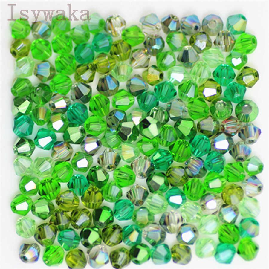 Isywaka U Choice 100pcs 4mm bicono Austria perline di cristallo fascino perline di vetro branello distanziatore allentato per creazione di gioielli fai da te