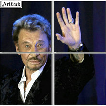 5d square diamond painting JOHNNY HALLYDAY portrait full round drill French singer mosaic sticker decoration