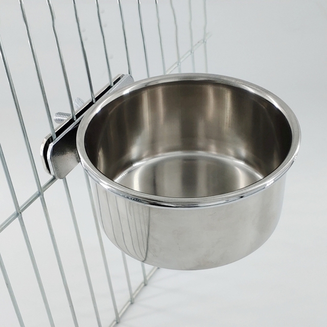Hanging Stainless Steel Cage Feeding & Watering Bowls For Parakeets -Lovebirds -Finches - Parrots 2