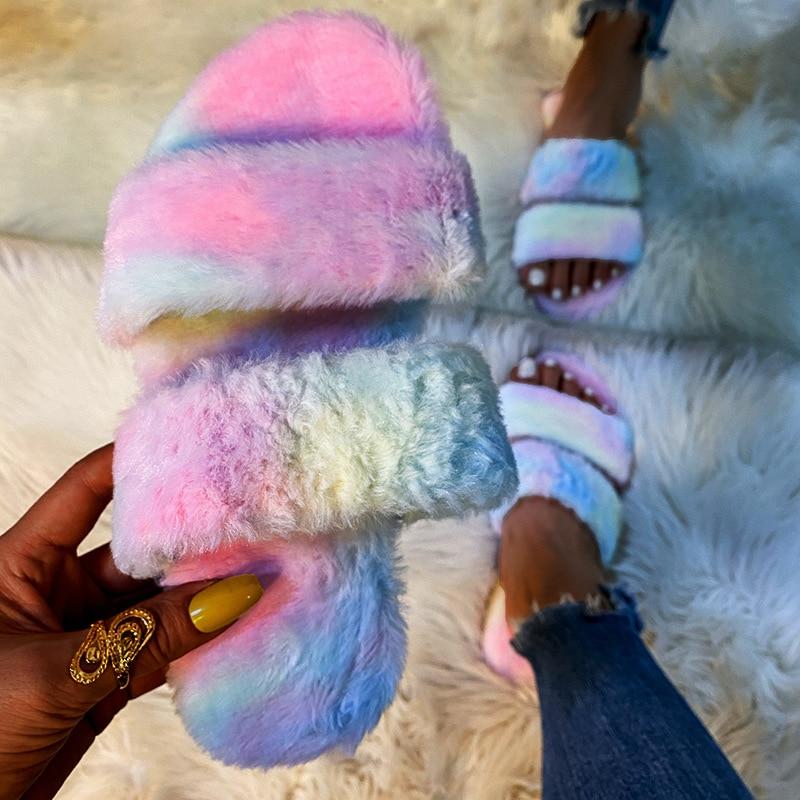 Winter Women Fur Slippers Woman Plush Keep Warm Slides Women