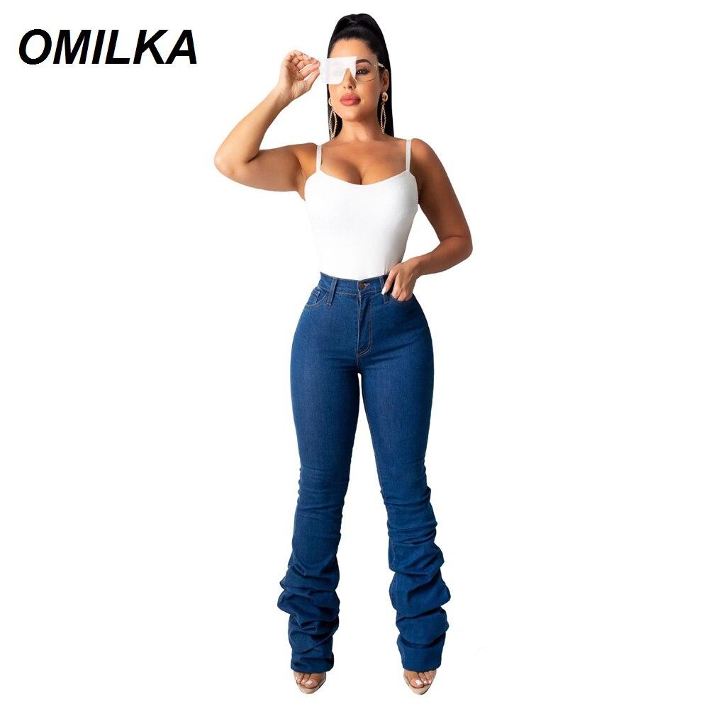 OMILKA High Waist Pile Jeans 2019 Autumn Winter Women Denim Blue Black Vintage Skinny Streetwear Ladies Jeans Female