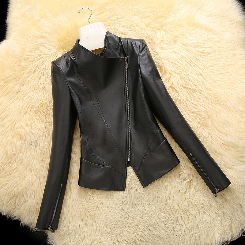 Casual 2020 Spring Autumn Genuine Leather Jacket Real Sheepskin Coat For Women Short Black Slim Jackets Outerwear 18019 S