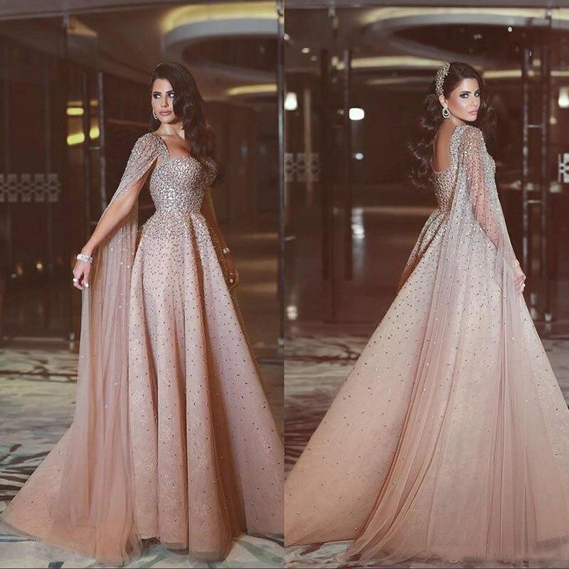 Brillant étage longueur cristaux Long Tulle 2019 Cape bal robe de soirée de luxe Blush rose une ligne robe de bal Wateau Train Rhineston