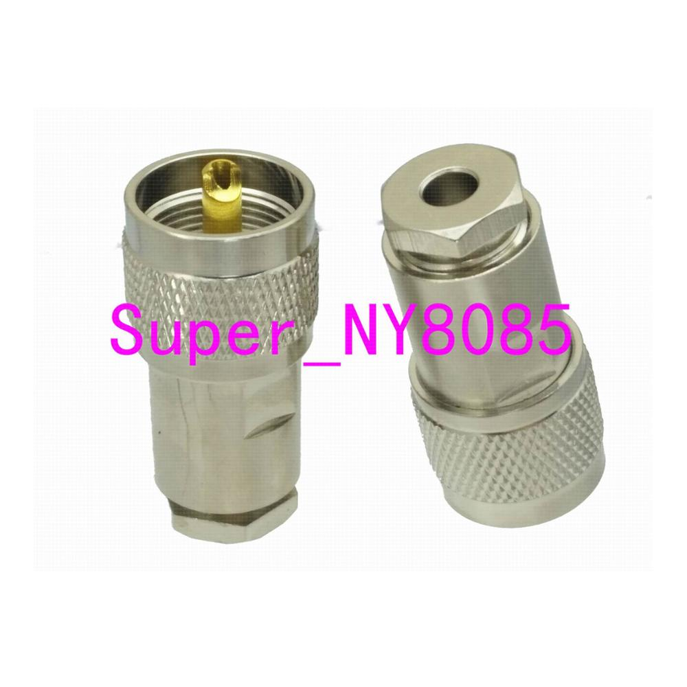 1pce UHF PL259 Male Plug Clamp RG58 RG142 LMR195 RG400 Cable RF Coaxial Connector Straight