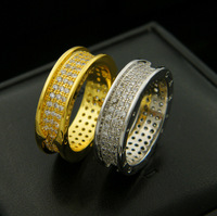 Fashion personality ring titanium steel jewelry gear inlaid ochre delicate couple style to send a gift for a lover 2019 new hot