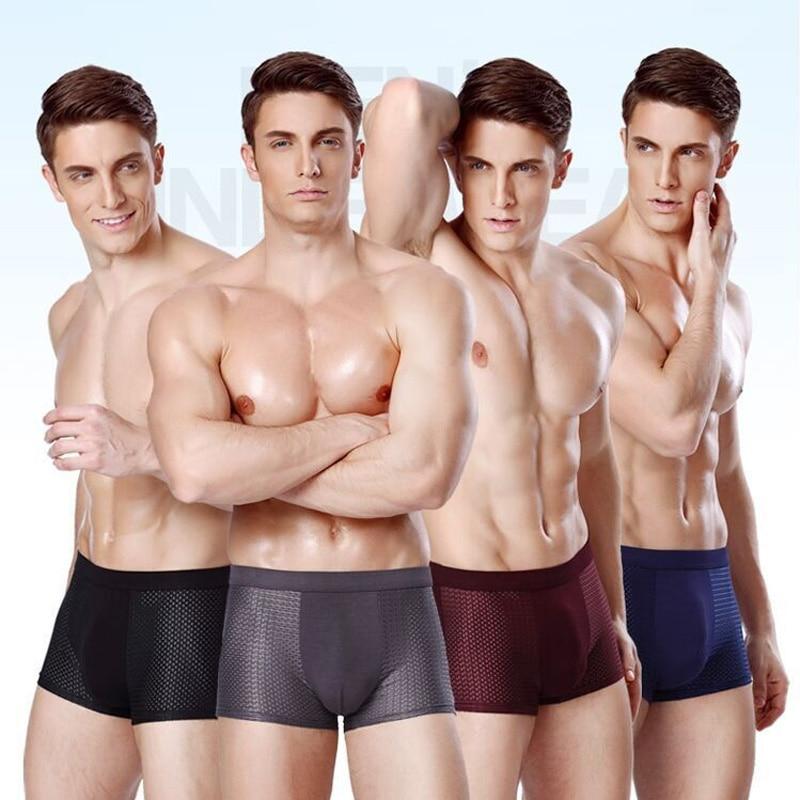New 2019 Breathable Mesh Silk Men Boxers Four Corner Underwear Wholesale Underpants Man Mens Bodysuit Underwear