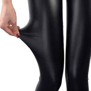 Women Fashion Faux Leather Skinny Pants High Waist Stretchy Leggings Trousers Solid Color Fashion Women Pants High Waist
