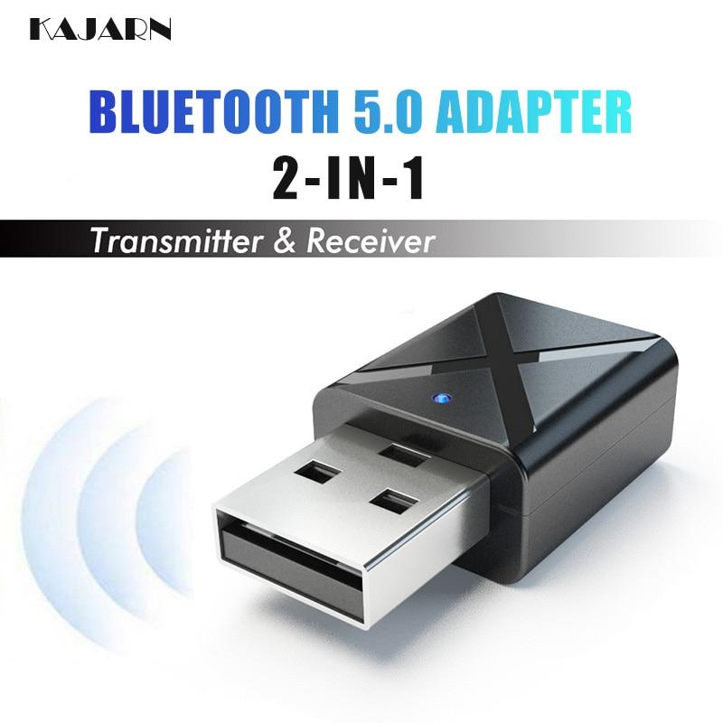 KAJARN 2 IN 1 Bluetooth 5.0 Adapter 3.5mm Bluetooth Transmitter Receiver Audio Music Wireless Adapter For TV Headphone Speaker|Bluetooth Car Kit| |  - title=