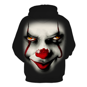 Movie Stephen King IT Cartoon 3D printing Hooded Sweatshirt for Men Women The Clown Pennywise Hoodies Halloween Cosplay Costume 2