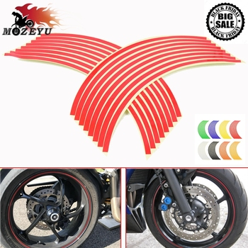 16 Strips 17inch/18inch wheel Motorcycle Wheel Tire Rim Stickers for KTM DUKE 125 200 390 690 790 HONDA CBR CBR250 600 650 1000 image