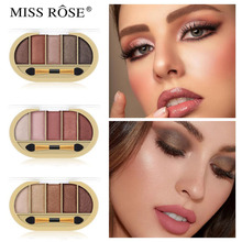 MISS ROSE Golden Pearlescent Matte Eye Shadow natural Long-lasting make-up earth color portable eye shadow Eye Makeup miss rose 4 color gold pearl gloss matte shadow natural nude makeup earth color portable shadow tray beauty