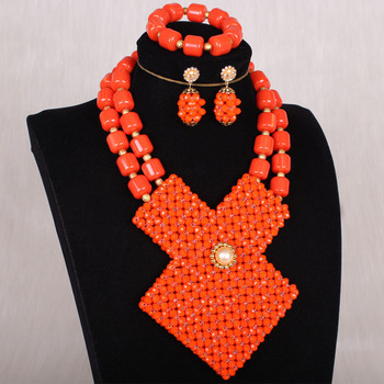 4uJewelry Artificial Coral Beads Set Crystal Beaded Square Women Jewelry Set For Nigerian Women 2020 Fashion Necklace Set Bride