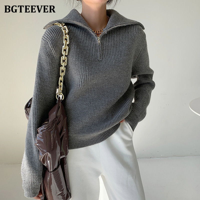 BGTEEVER Fashion Thick Turtleneck Zipper Pullover Sweaters Women Loose Long Sleeve Female Solid Knitting Jumpers Autumn Winter