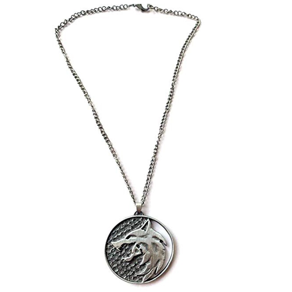 Fashion Wolf Head Necklace Name Necklace Pendants Fashion Jewelry Party Witcher Medallion Wolf Round Necklace Long Men Gift 0128