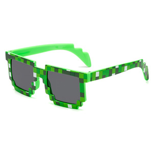 Party Fashion Sunglasses Kids Cosplay Action Game Toys Boys Girls Square Sun Mosaic Glasses Children Birthday Gift