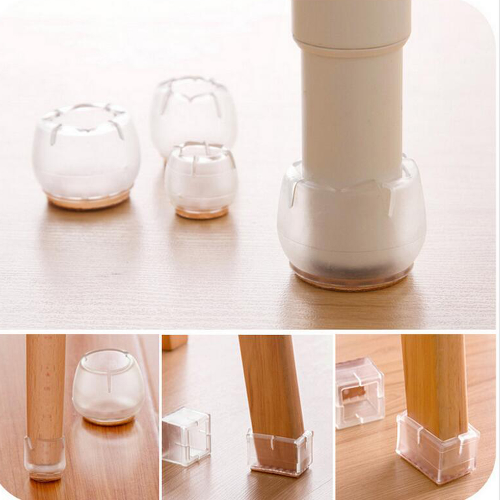30Pcs For Diameter 12-16mm Clear Chair Leg Floor Protectors With Felt Furniture Pads Chair Feet Cap
