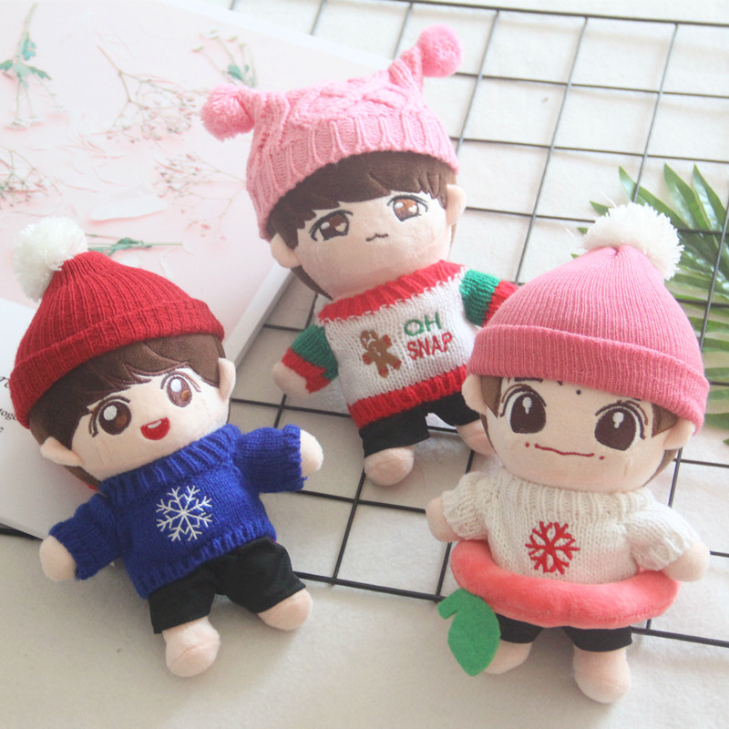 Korea Kawaii Soft Clothes Plush Doll Toy Knitting Soft Sweater Clothes Accessory Hat Scarf Bag Fit 20-28cm Dolls Toys Fans Gifts