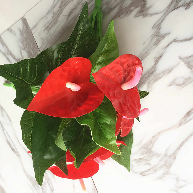 1 bos Kunstbloem Rode Palm Nep Anthurium Boeket Bruiloft Arrangement Kerst Woondecoratie