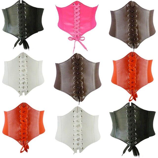 Women Wide Waistband Waist Adjustable Corset Leather Belt Fashion Bandage Sweat-Absorbent Retro Vest Body Shaping Elastic Belt 1