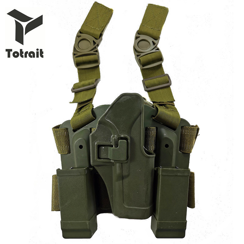 Coldre para Glock Totrait Tático Glock Perna Coldre Militar Tiro Pistola Coxa 19 22 23 31 32 Preto – Verde Areia 17