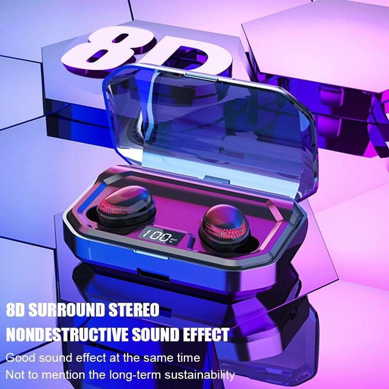 TWS Bluetooth 5.0 Earphones True Sport Wireless Headphones Display Touch Control 8D Stereo Earbuds Waterproof Headset For Phones