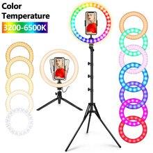 10 Polegada rgb selfie anel luz tripé suporte de natal presente maquiagem fluxo ao vivo led câmera anel luz bluetooth controle remoto usb