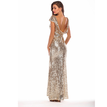 Sexy Backless Mermaid Gold Party Dress Fashion O-Neck Long Sequined Glitter Dance
