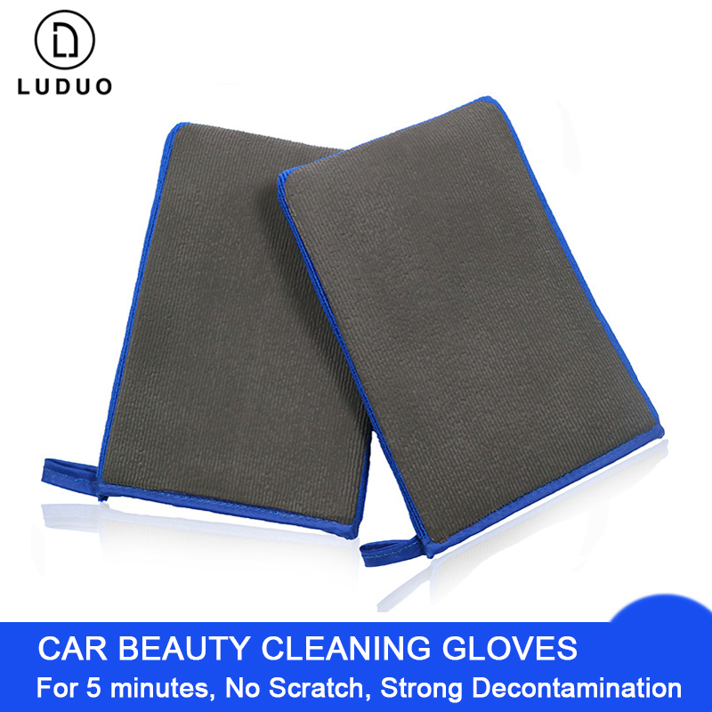 LUDUO Car Wash Cleaning No Scratch Detailing Decontamination Mitt Microfiber Beauty Grinding Mud Gloves Nanoscale Removal Tools