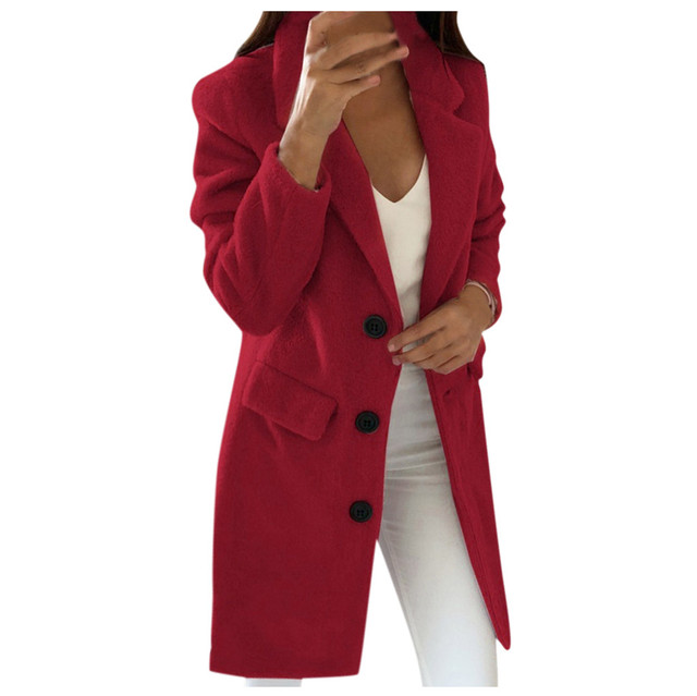 Woman Long Wool Coat Elegant Blend Coats Slim  Female Long Coat Outerwear Jacket Dropshipping size Leisure Work clothes  free sh 3