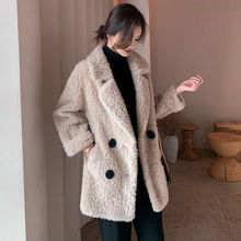 Jacket Coat Shearing Fur Sheep Wool Natural Winter Women New Autumn B593 Female Double-Breasted