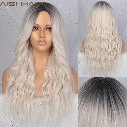 AISI HAIR cheveux longs ondulés Ombre blanc perruque gris/violet/rouge perruques synthétiques pour les femmes afro-américaines deux tons naturel moyen partie perruque