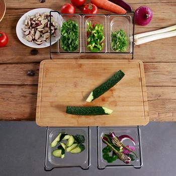 Vegetable Kitchen Cutting Board With Trays Storage Box Smooth Multifunction Practical Fruit Meat Bamboo Food Chopping Board