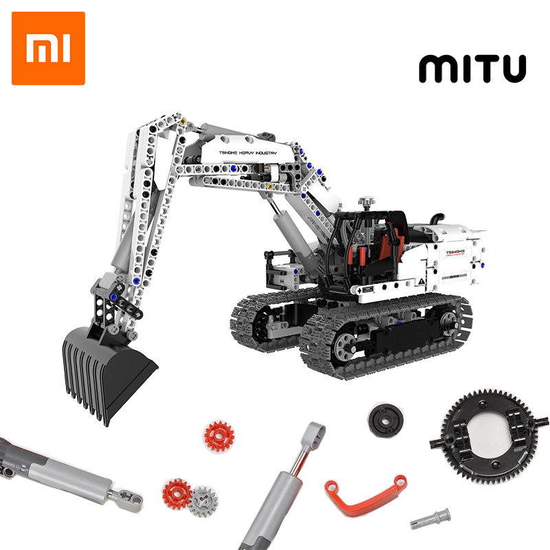Xiaomi MITU Engineering Excavator Building Blocks Toy Kids Gift Crawler Simulation console Mechanical transmission 900+ parts(China)