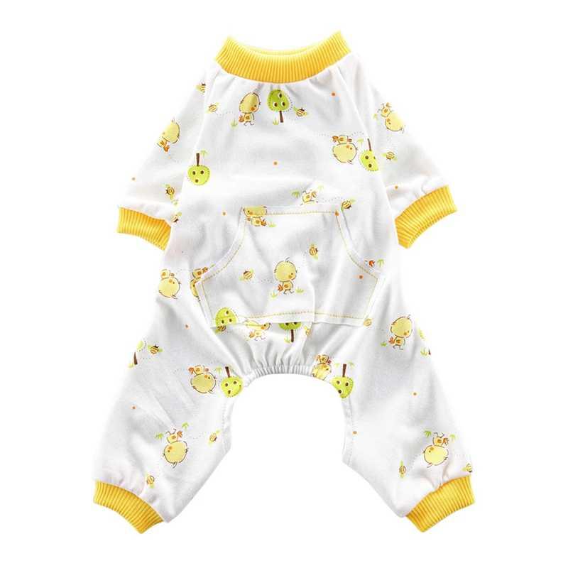 Dla zwierząt domowych 4 nogami piżamy na co dzień Homewear strój bawełniany Puppy wszystkie pory roku odzież kombinezon śliczne małe kurczaka wzór