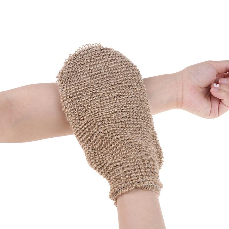 Fibre Bath Gloves Exfoliating Skin Wash Foam Towel Massage Back Shower Scrubber Hemp Body Cleaning Towel Sponges Free Shipping