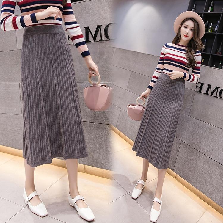 Photo Shoot Skirt Women's Winter Knitted Yarn Pleated High-waisted Sheath Medium-length Skirt A- Line 2019 Autumn New Style Fash