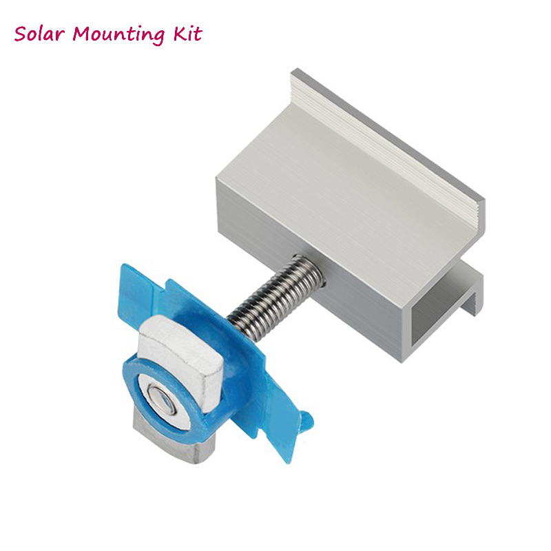 Solar panel mounting bracket- kit - accessories aluminum mid clamp rails for solar panel installtion on off grid solar system