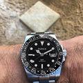 Parnis 40 мм с черным циферблатом GMT  механические часы с сапфировым стеклом  автоматические мужские часы  высокое качество  супер светящаяся Да...