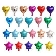 100 unids/lote mezcla de 5 pulgadas Star corazón Globos de papel de aluminio bebé de la fiesta de cumpleaños de la boda de aire inflable amor corazón Globos decoración suministros