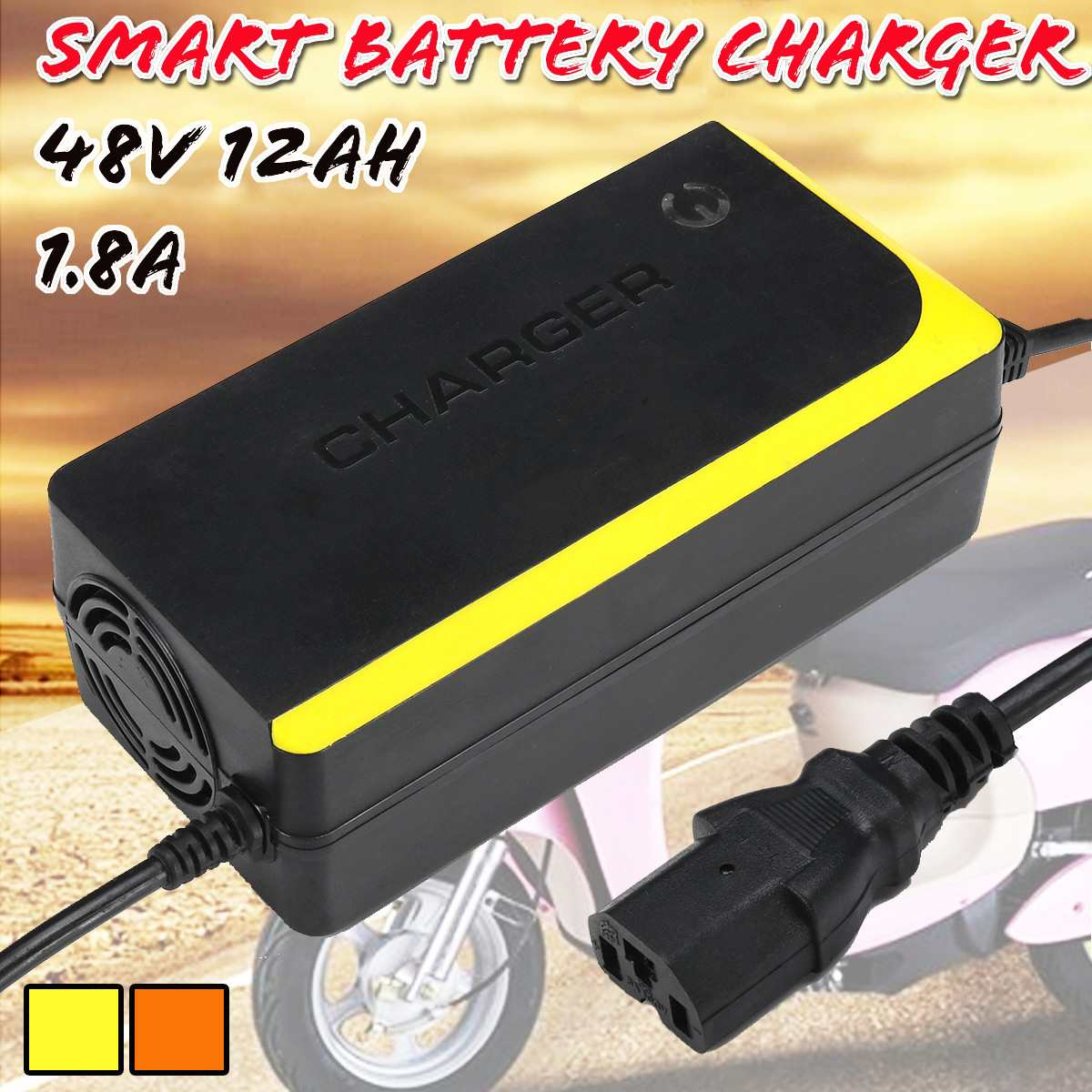 48V 12AH Electric Bicycle Bike Scooters Motorcycle Charger Smart  Supply Lead Acid Battery Charger 48V 1 8A 12AH