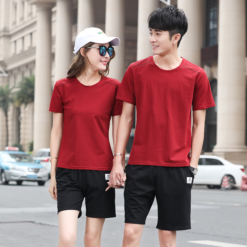 Couples Sportswear Summer New Style Fashion Casual Outdoor Men And Women Run Shorts Step Short Sleeve T-shirt Suit