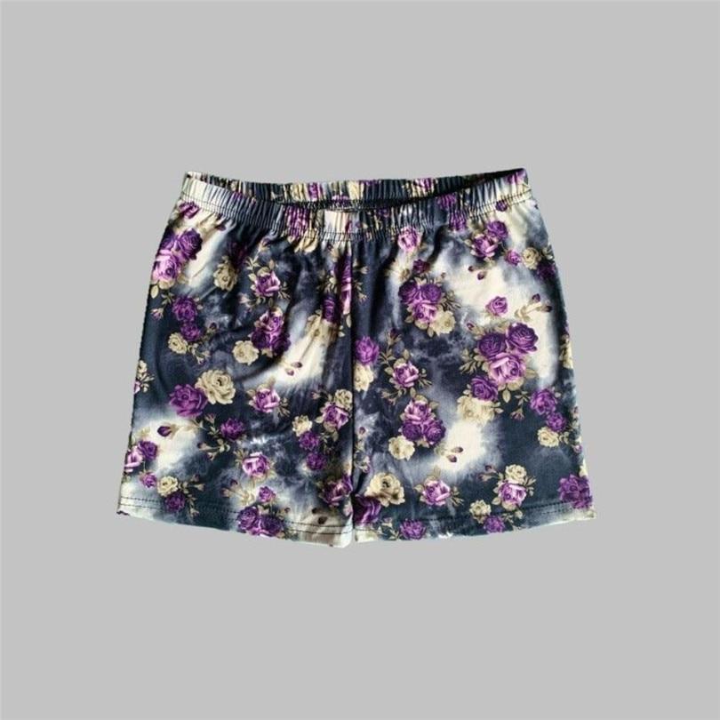 YGYEEG Skinny Shorts Stretch Gym Push Up Summer Shorts Women Leopard Print Flowers Letters Bottom Workout Waistband Skinny Short