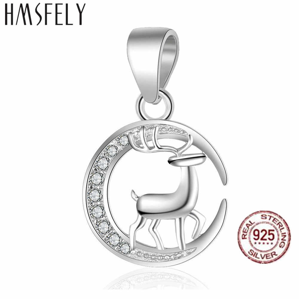 HMSFELY Real 925 Sterling Silver Reindeer Pendant DIY Charm Bracelet Round Shape Dangles Findings For Women Chrismas Gift Necklace Jewelry Making Charms Accessories