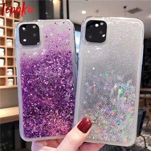 Image 1 - Para iPhone 11 pro max funda de teléfono con purpurina arena líquida arenas movedizas estrella funda de teléfono suave de silicona para Xs max X 6 7 8 Plus