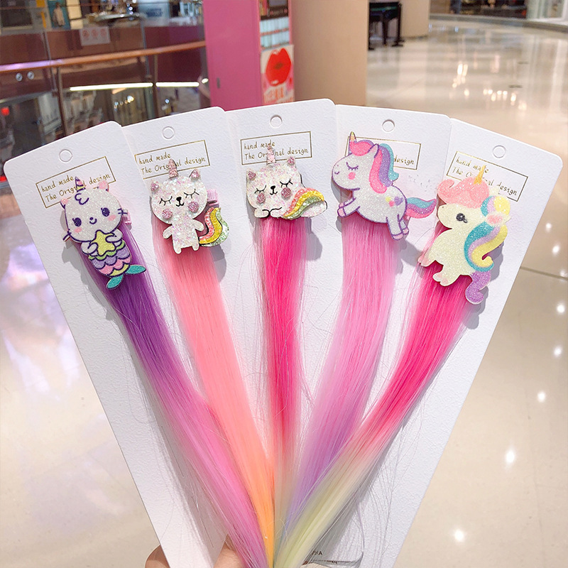 New Fashion Hair Accessories Lovely Hair Clips For Girls Rainbow Bowknot Princess Kids Long Wig Hairpins Braider Hair Tools
