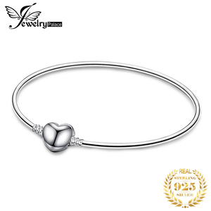 Jewelrypalace Original 925 Sterling Silver Chain Bangle Bracelets For Women Love Heart Fit Beads Charms silver 925 original DIY(China)